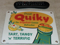 VINTAGE DRINK QUIKY GRAPEFRUIT & LEMON 10 PORCELAIN METAL SODA POP GAS OIL SIGN!