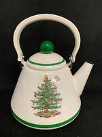 Spode Christmas Tree Tea Kettle Pot Porcelain Enamel Spode Trivet Cork Back (b)