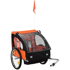 HOMCOM 2-Seat Child Bike Trailer Kid Stroller w/ Steel Frame Seat Belt Orange