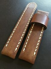 Premium Horween Leather Handmade Men's watch strap 24mm Nut Brown Band SS Buckle