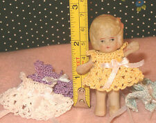 Miniature Handmade Doll Dress fits 2.1/12 inch Bisque Doll