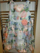Jona Michelle Special Occasion Dress light blue multi floral organza Age 7 BNWT