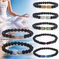 Charm Sacred Arrow Nature Lava Rock Stone Diffuser Men Women Healing Bracelets
