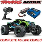 NEW TRAXXAS MAXX 4S BRUSHLESS 4WD 1/10 MONSTER TRUCK GREEN 4S LIPO CHARGER COMBO