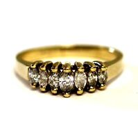 14k yellow gold .45ct diamond SI3 H marquise anniversary band ring 3.1g vintage