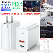 Baseus 30W QC3.0 PD Dual Port Quick Wall Charger Adapter Power +Type USB-C Cable