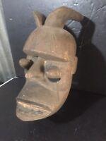 "OLD African Mask Ibibio Ekpo Idiok tribal Art Wood carved Nigeria 14"" Horned"