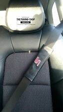 "2x Seat Belt Covers Pads Black Leather ""S"" Red Embroidery for Ford"