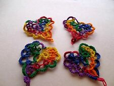4 Tatted Festive Hearts Tatting Scrapbook Crazy Quilts Applique Cards Earrings