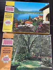 Lot of 2 vtg Tuco Jigsaw Puzzle 1000 Switzerland & Alabama #2500B #2500-k