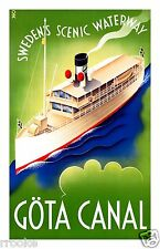 Göta Canal TRAVEL POSTER SWEDEN'S Scenic Waterway Digitally Remastered Print