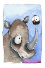 Original art watercolor whimsical painting African wildlife animal bird Rhino