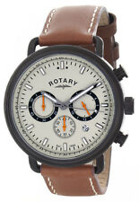 Rotary Men's Grey Dial Brown Leather Strap Chronograph Watch GS00482/32