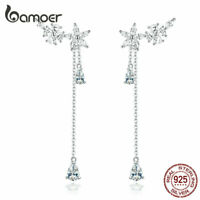BAMOER Blossom CZ Stud Earrings S925 Sterling silver For Women Flowers Jewelry
