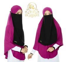 Plum & Black Khimar & Purdah Set Instant Hijab Slip On Scarf Niqab Jilb