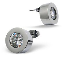 10mm Stainless Steel Cubic Zirconia Bezel Round CZ Stud Earrings Studs 10x10mm