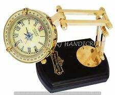 Antique Brass Marine Desk Clock Nautical Table Watch Vintage Decor w Stand Gift