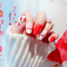24Pcs Artificial Strawberry False Nail Short Fake Nails Art Tips DIY S13 Summer