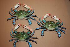 (3) Tiki Bar Blue Crab Decor, Realistic Blue Crab Replicas, 6 inch