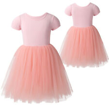 Kids Girls Tutu Tulle Dress Summer Short Sleeve T-Shirt Birthday Party Skirts