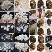 20Pcs Lot Women Lady Wedding Bridal Pearl Flower Crystal Hair Bobby Pins Clips