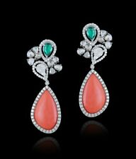 925 Sterling Silver Unique Coral Dangle Earring Green White Pear Halo Style gift