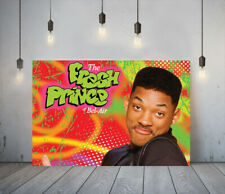 FRESH PRINCE- FRAMED CANVAS WALL ART CLASSIC SHOW PICTURE PAPER PRINT- RED GREEN