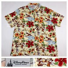 Disney Parks Mickey Mouse Donald Goofy Pluto Hawaiian Tiki Camp Shirt Mens XL