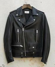 Men's Wash Leather Jacket Black Slim fit Biker Motorcycle jackets  coat outwear