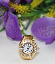 5pcs Rhinestone golden round finger ring watch #22367