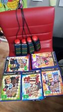 BUZZ controllers set PS2 Playstation 2 Game Buzzers Bundle + 3 buzz games