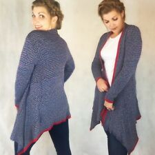 LADIES PONCHO STYLE WATERFALL FRONT CARDIGAN STRIPED STRIPE BLUE RED 8 10 12 14