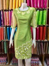 "Big size Women's clothing Thai Silk Dress chest 42"" green Flower Luxury desing"