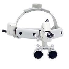 Dental 35x R Surgical Medical Headband Binocular Loupes Ampled Light Blackampwhite