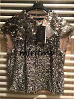 ZARA BOLERO SILVER SEQUIN CROP BLAZER BEADED EMBELLISHED COAT JACKET MEDIUM - M