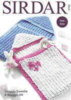 Sirdar Double Knitting Pattern 5192, Snuggly Baby Sleeping Bags with Contrasts
