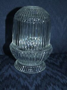 HOMCO EUC VINTAGE HOME INTERIORS CLEAR GLASS RIBBED FAIRY LAMP / LIGHT - NR