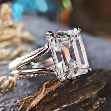 Real 14k White Gold 4.00Ct Diamond Engagement Ring Split Shank White Emerald Cut