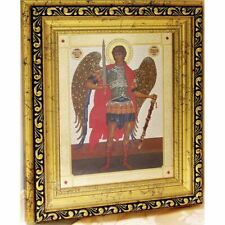 """Saint Michael Gold Framed Icon Crystals Glass 10 1/4""""x9"""""""