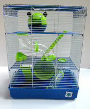 Penthouse Large Blue & Lime Syrian Dwarf Hamster Cage 3 Storey With Tubes