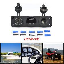 Car Multi Function Panel 2 USB Charger Voltmeter 12V Cigarette Lighter Universal