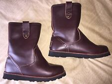 mens 9.5 10 UGG Stoneman brown leather shearling pull on winter snow boots 3247
