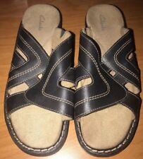 a8b090fbda8f0 Clarks Women s 8W Black Leather Upper Slip On Wedge Heel Slide Sandal Shoe