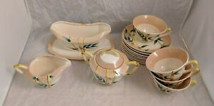 Weil Ware California Pottery BAMBOO VTG Set Gravy Boat, Cups, more *READ*