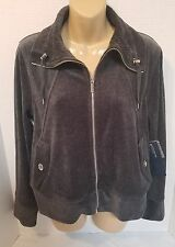 Jones New York Signature Black/Gray Velour Jacket Petite  Sz PM (J3) Fast Ship!