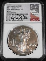 2011- S $1 One Ounce 25th Anniversary Silver Eagle Set NGC MS 69 Castle Label