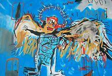 """David Aldus original """"avant son temps"""" Jean-Michel Basquiat rendition peinture"""