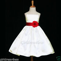 IVORY/APPLE RED HOLIDAY STRAPS WEDDING FLOWER GIRL DRESS 18M 2/2T 4/4T 6 8 10 12