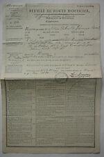 FEUILLE DE ROUTE D.OFFICIER. de Nantes à L.Eure et Loire . 1824.