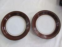 Denby - Cognac Dark Brown Rim -England - Set of 2 Dinner Plates